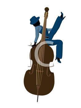 Silhouette of a Jazz Woman Sitting on an Upright Bass