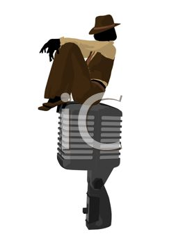 Silhouette of a Jazz Woman Sitting on a Microphone