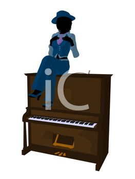 Silhouette of a Jazz Woman Sitting on an Upright Piano