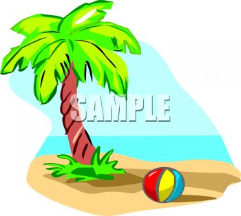 Cartoon of a Palm Tree and a Ball on a Tropical Beach