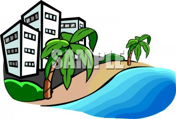 übernachtung clipart  Royalty Free Clipart Image: Hotels on a Hawaiian Beach