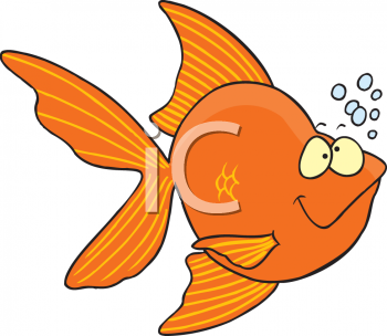 Cartoon of a Tropical Fish with Bubbles
