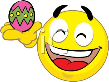 Holiday Smiley Holding an Easter Egg