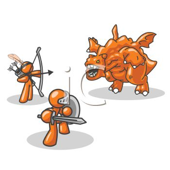 Orange Man Character Mascots Fighting a Monster