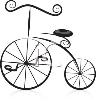 Stylized Old Fashioned Bicycle Design Element