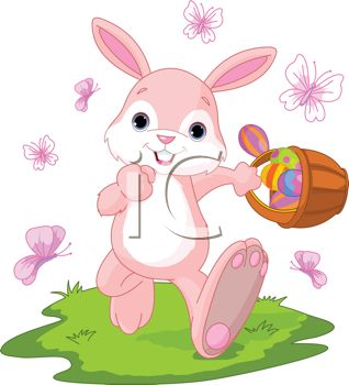 Cartoon of a Happy Easter Bunny Walking with a Basket of Eggs