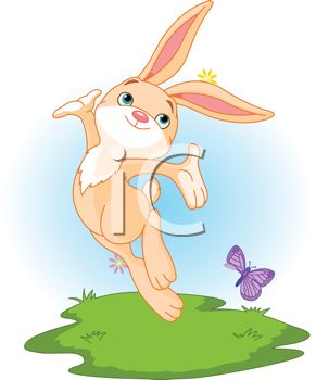 Happy Bunny Dancing with a Butterfly