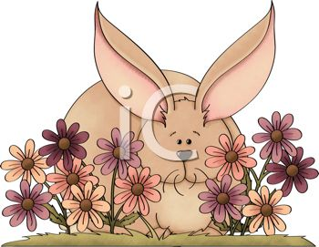 Pretty Bunny Hiding in a Flower Bed