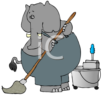 Cartoon of an Elephant Janitor Mopping