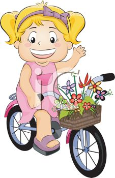 Little Girl Riding Her Bike with a Basket of Flowers on the Handlebars