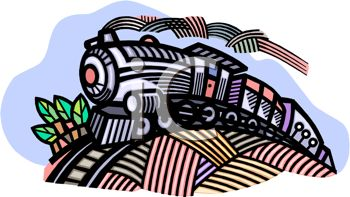 Choo Choo Train Going Over a Hill - Royalty Free Clip Art Image