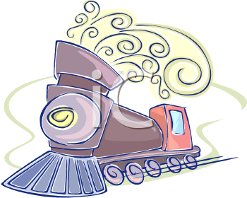 Whimsical Train with Curls of Steam