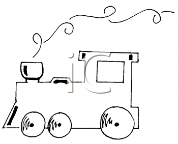 Coloring Page of a Train Engine