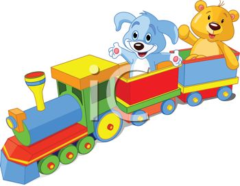 Stuffed Animals Riding in a Toy Train