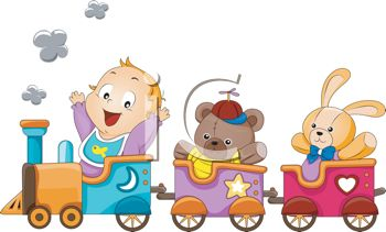 Baby and His Toys Riding in a Toy Train