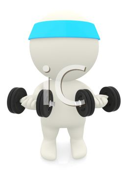 3D Character Using Free Weights to Get in Shape