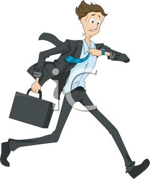 Cartoon of a Man Running Late Checking His Watch