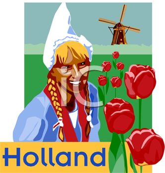 Holland Travel Poster Showing a Dutch Girl with Tulips and a Windmill