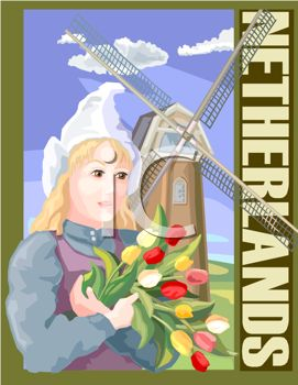 Netherlands Travel Poster Showing a Girl Holding Tulips and a Windmill