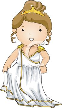 Cartoon of a Little Girl Dressed up Like a Greek Goddess