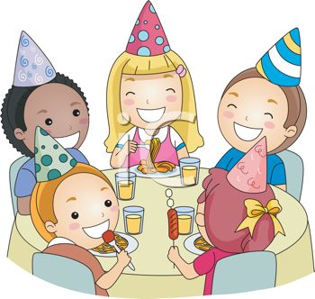 cartoon of children at a birthday party royalty free clipart picture - Cartoon Image Of Children
