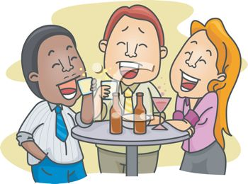 Cartoon of a Group of Friends Having Drinks