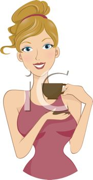 Pretty Blond Woman Drinking a Cup of Coffee