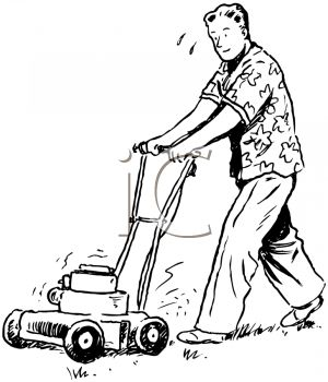 Black and White Vintage Cartoon of a Man Mowing the Lawn