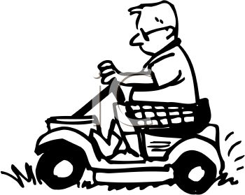 Black and White Cartoon of a Husband Using a Riding Mower to Cut the Grass