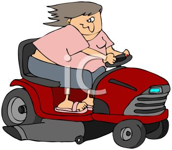 Chubby Woman Going Fast on a Riding Lawnmower