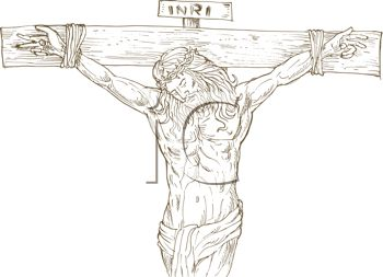 Line Drawing of Jesus on the Cross
