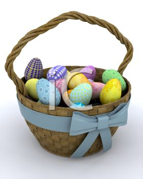 3D Easter Basket Filled with Pastel Colored Eggs