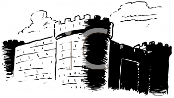 Black and White Image of a Castle