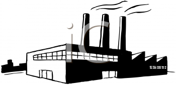 Black and White Image of a Factory Spewing Out Pollution