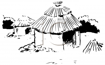 Black and White Image of a Grass Hut with a Thatched Roof