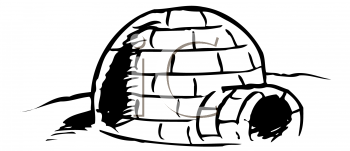 Black and White Image of an Igloo - Royalty Free Clip Art