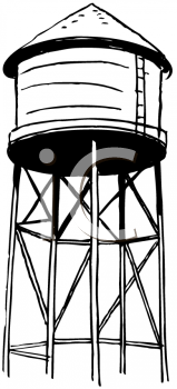 Black and White Image of a Water Tower