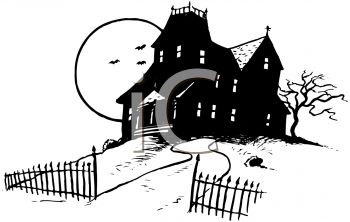 royalty free clipart image black and white image of a haunted rh clipartguide com free haunted house clipart black and white Haunted House Outline