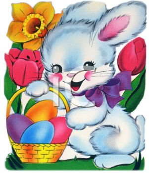 Cute Easter Bunny Holding a Basket of Eggs