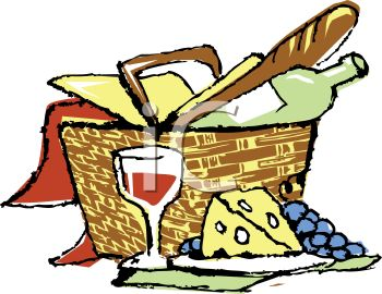Picnic Basket with Bread Cheese and Wine