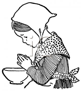 Vintage Colonial Child Praying Over a Bowl of Food
