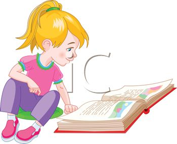 royalty free clip art image cute little girl reading a storybook rh clipartguide com story book border clipart story book parade clipart