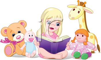 Adorable Little Girl Reading to Her Stuffed Animals