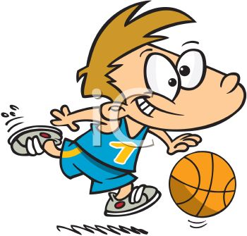 Cartoon of a Boy Playing Basketball