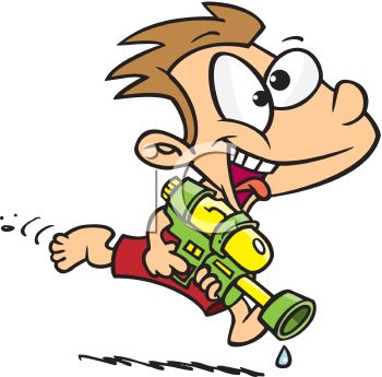 Cartoon of a Kid Playing with a Watergun