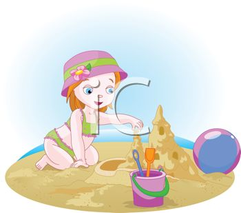 Little Red Haired Girl Building a Sandcastle on the Beach