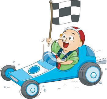 Boy Driving a Go Kart with a Checkered Flag