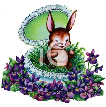 Cute Little Rabbit Sitting in an Easter Egg Surrounded by Flowers