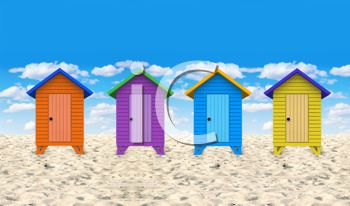 Colorful Beach Huts on a Perfect Summer Day