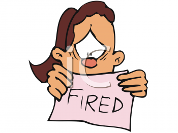 Cartoon of a Sad Woman Holding a Fired Sign